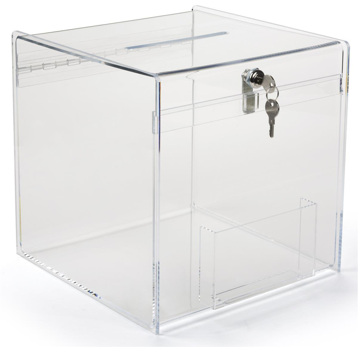 Plexiglass Donation Box 12 Inch Cube With Top Slot Amp Key