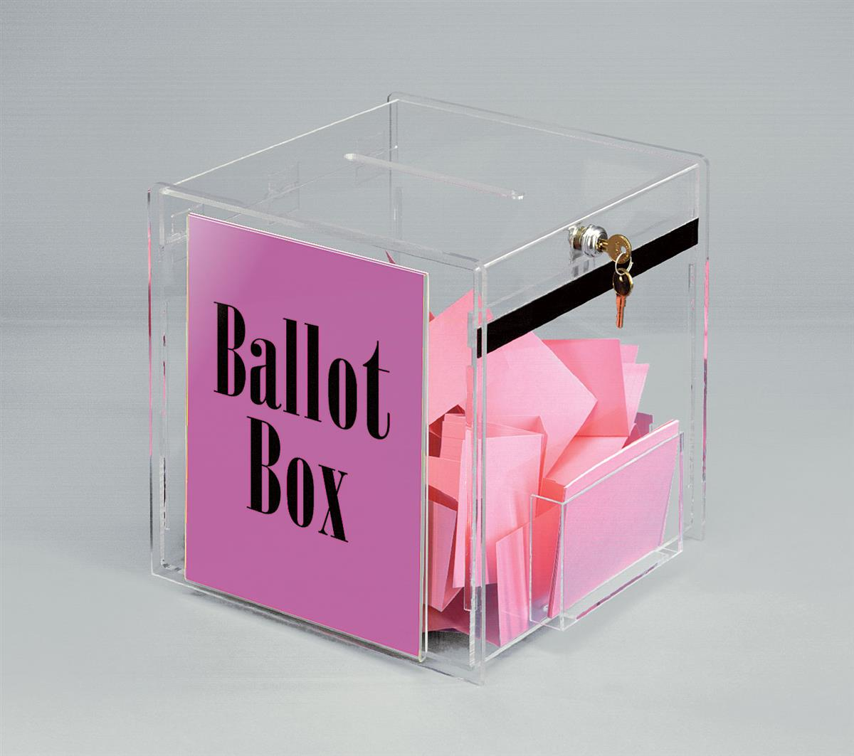 Clear Ballot Box With Signage Locking Display With Sign