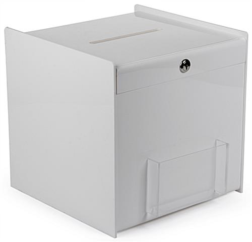 White Ballot Box with Pocket