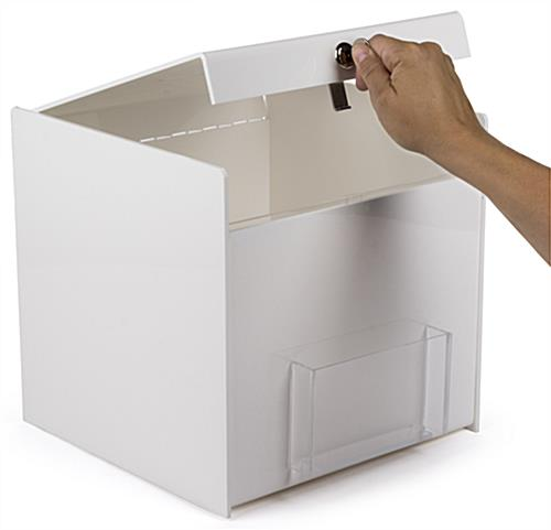 Hinged Top White Ballot Box