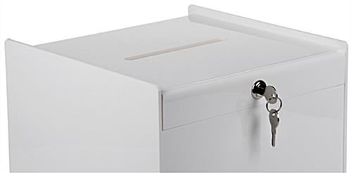 Key Lock White Ballot Box