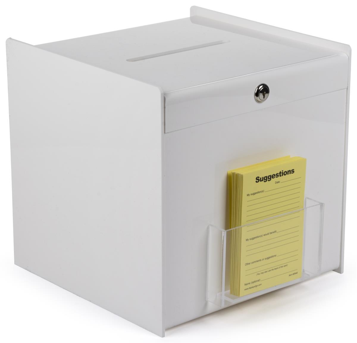 "Displays2go 12"" x 12"" Acrylic Ballot Box w/ Clear Pocket,..."