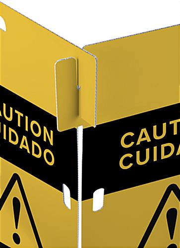 Interlocking caution barricade with simple slide in assembly