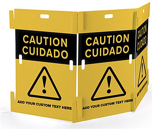 Interlocking caution barricade with customizable text field