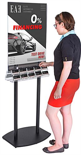 Floor Standing Double-Sided Poster Stand with Business Card Slots