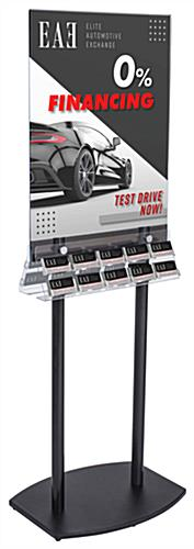 Space Saving Double-Sided Poster Stand with Business Card Slots