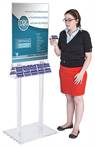 "67""h Acrylic Poster Stand with Business Card Holders"