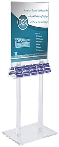 Clear Acrylic Poster Stand with Business Card Holders with Silver Hardware