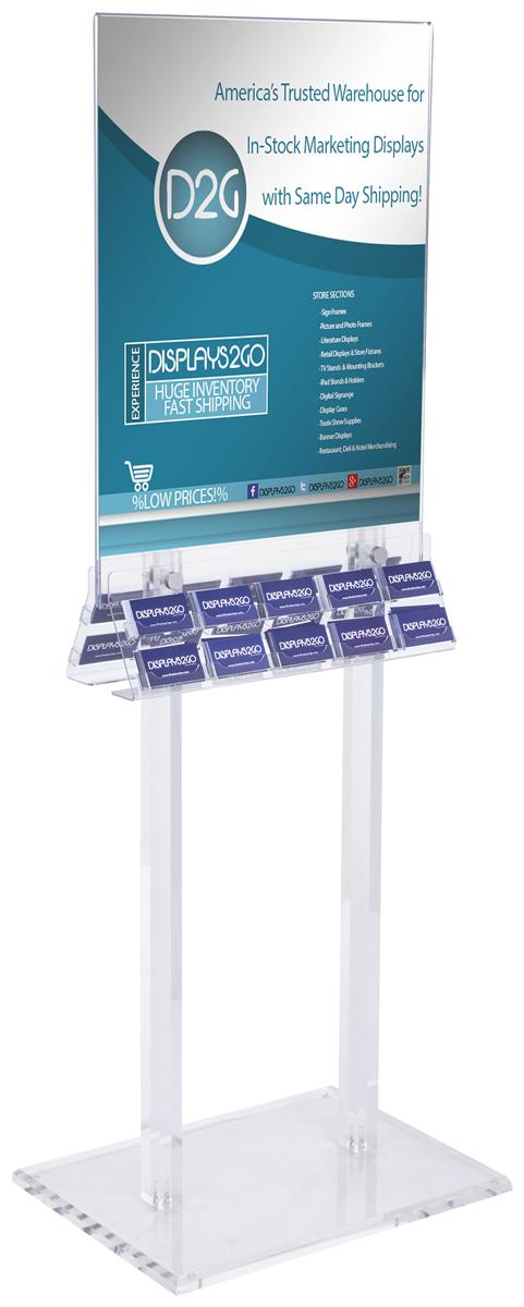 Acrylic Poster Stand With Business Card Holders Side Insert