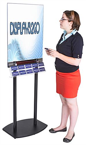 Black Poster Stand with Business Card Rack for Contact Information and Gift Cards