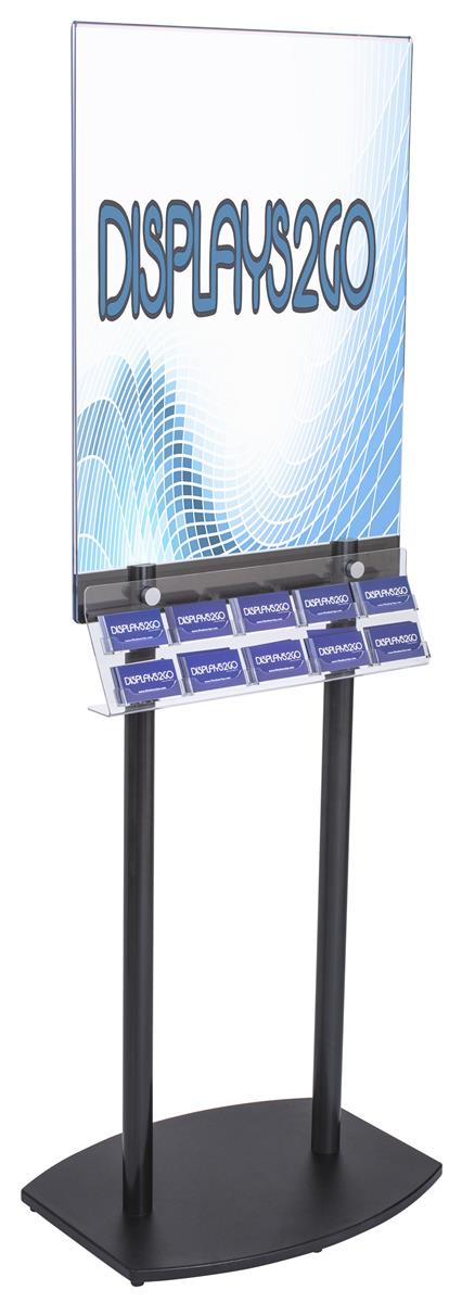 Black Poster Stand With Business Card Rack Side Loading