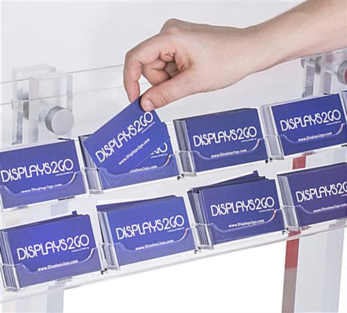 Clear Poster Stand with Business Card Pockets Designed for Easy Restocking