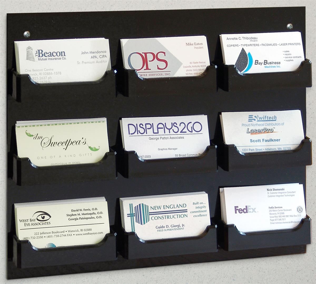 9 Pocket Business Card Holders Wall Mount