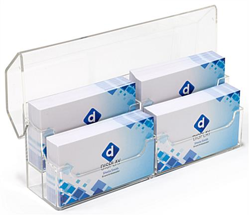 Transparent 2-tier countertop covered business card holder
