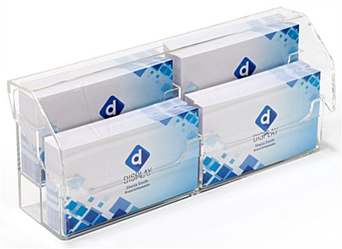 Clear 2-tier countertop covered business card holder
