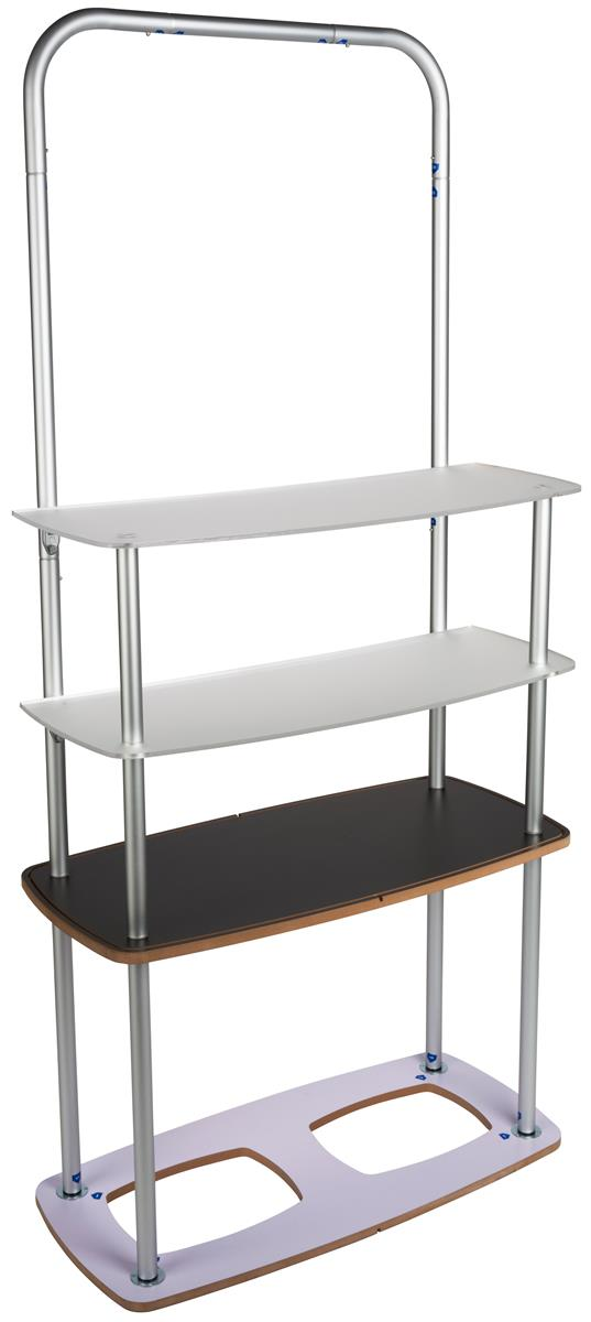 Portable Exhibition Shelves : Stretch fabric shelf stand durable mdf acrylic surfaces