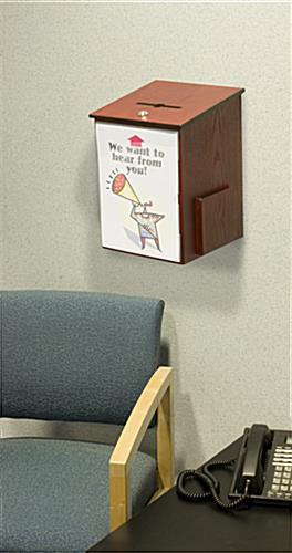 Wooden Employee Suggestion Box Mahogany Finish Amp Side Pocket