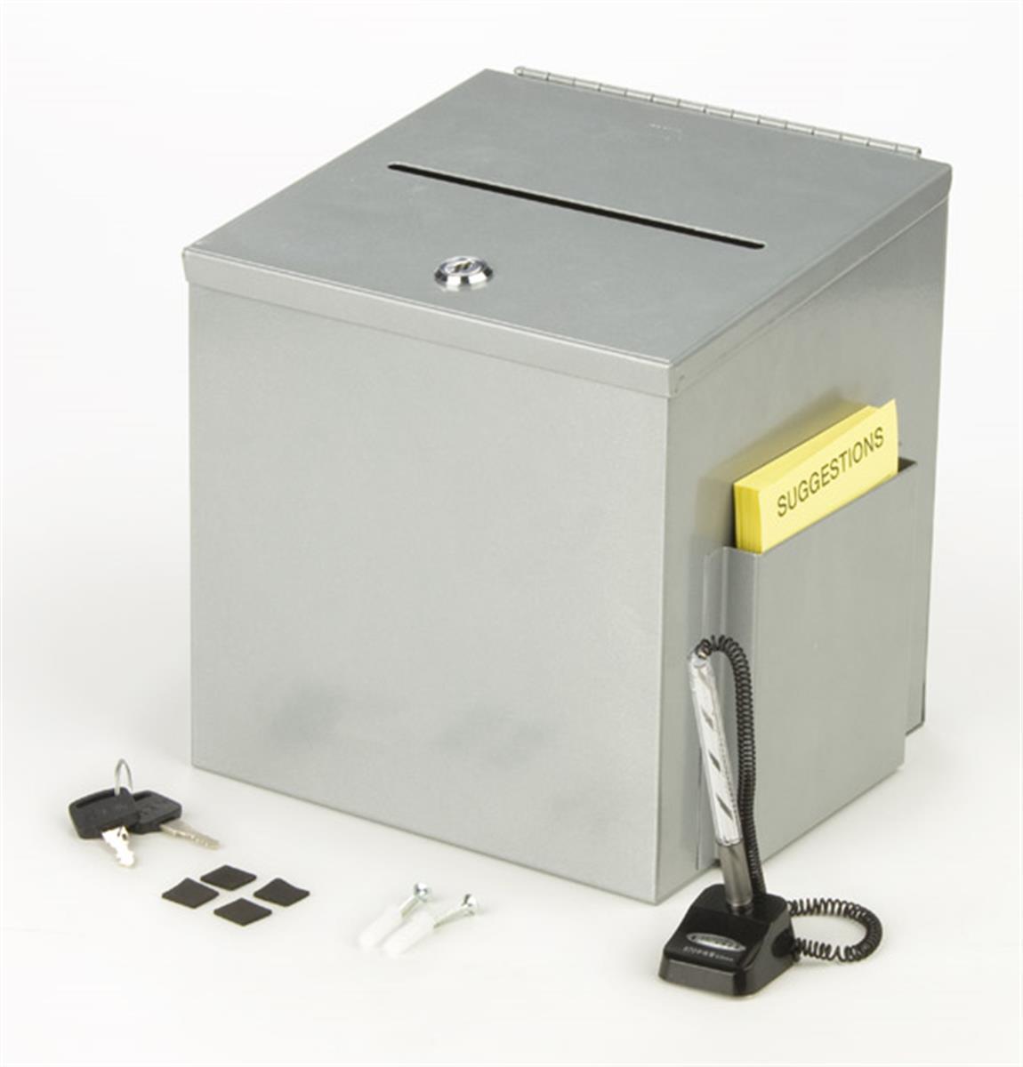 Displays2go Metal Ballot Box w/ Side Pocket, Pen & Lock, ...