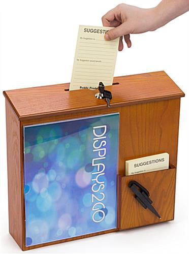 Wall Mounted Suggestion Box with Front Pocket