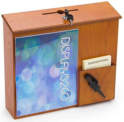 Wall Mounted Suggestion Box with Wood Finish