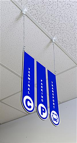 Ceiling hanging directional signage with 0.25 inch acrylic