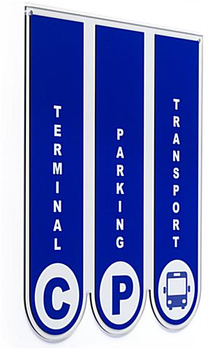 Ceiling hanging directional signage with double sided printing
