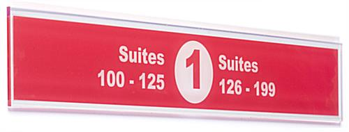 Modular wayfinding wall signage with quarter inch thick acrylic