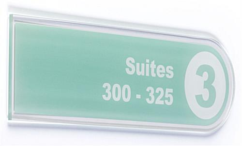 Right hand wall directory panels with quarter inch thick acrylic