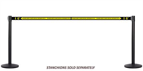 Social distance stanchion belt barrier with 4 way connectivity