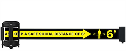 Social distance stanchion belt barrier with pre-printed message