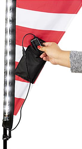 Illuminated LED teardrop banner battery pack with power cord