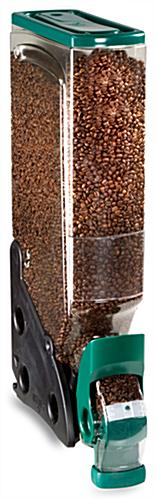 5-Gallon Gravity Coffee Bean Dispenser Is Clear With Green Accents