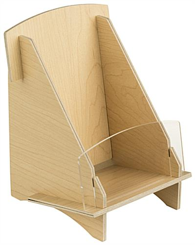 Knock Down Wood Brochure Holder with Plywood Panels