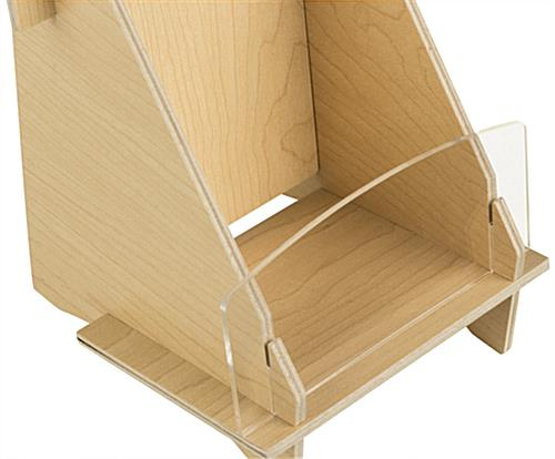 Knock Down Wood Brochure Holder with Full Front View