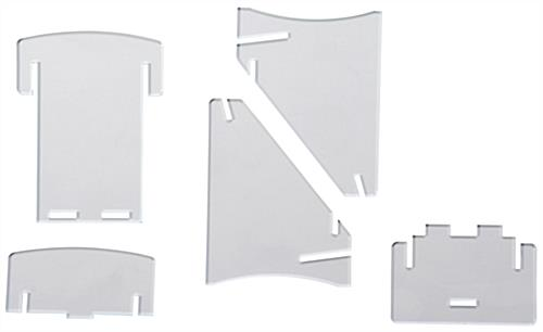 Clear Acrylic Brochure Tray Interlocking Pieces