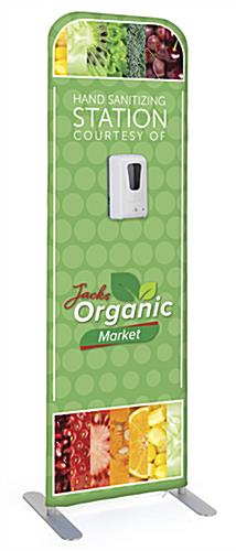 Custom printed fabric banner with sanitizer dispenser