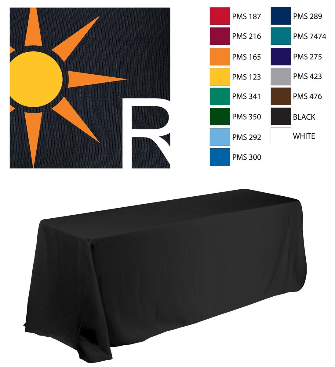 Imprinted Table Cloth Custom Table Covering with 3 Color Logo Imprint