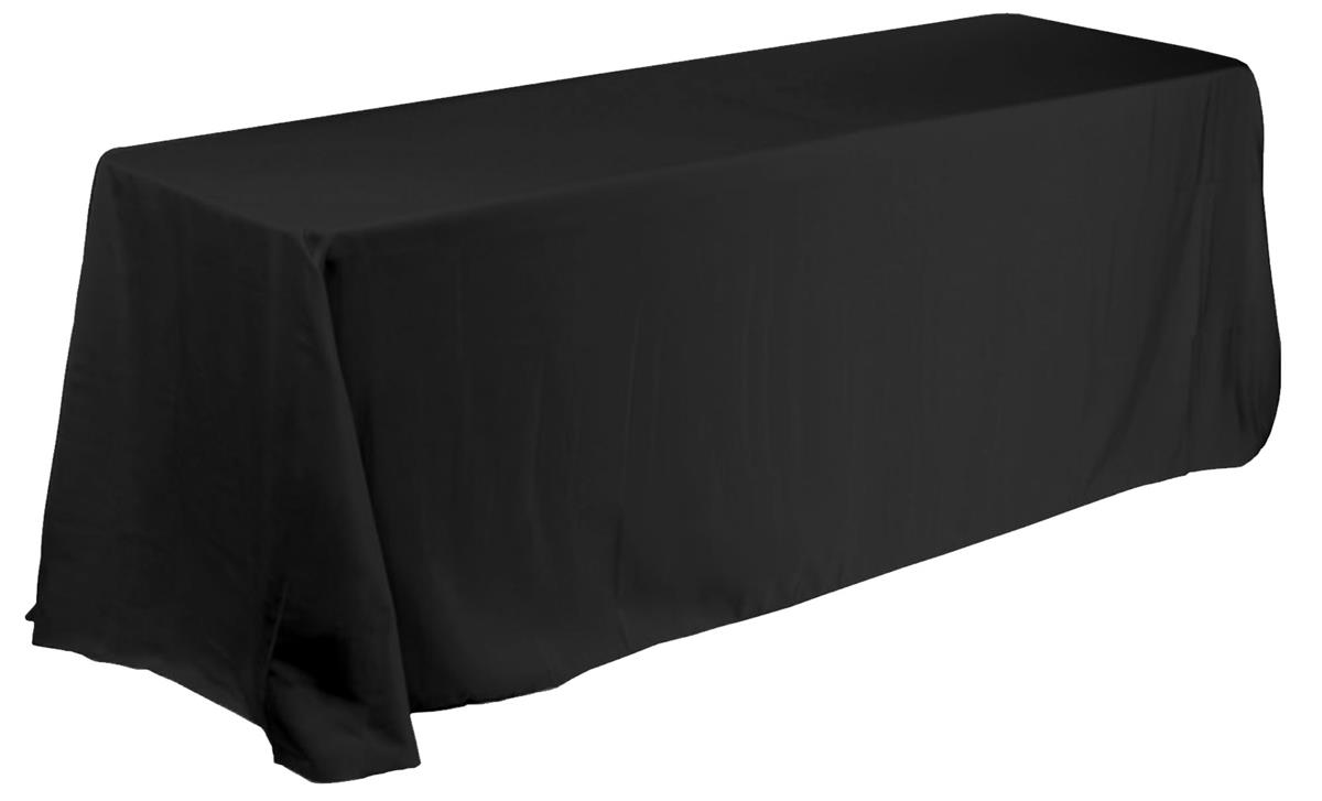 Black Round Corner Table Cover For 6ft Rectangular Tables