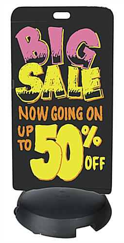 24 x 47 Black Wet-Erase Sidewalk Sign has a Fillable Base