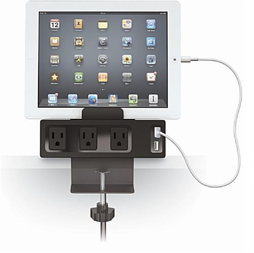 Desk Mountable Tablet Holder with Charging Hub