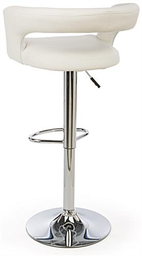 White Leather Bar Stool with Open Back Design