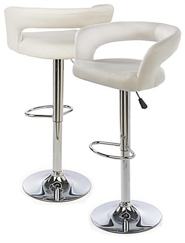 White Leather Bar Stool for Trade Show Use