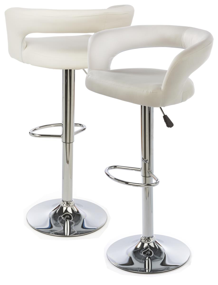 White Leather Bar Stool Height Adjustable W Backrest