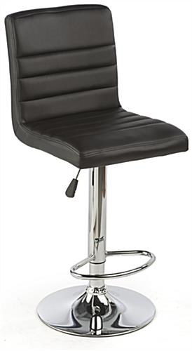 Black Leather Bar Stool Adjusts from Table to Counter Height