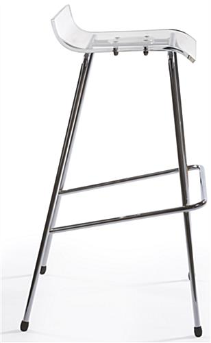 Chrome Bar Stool with Lipped Seat