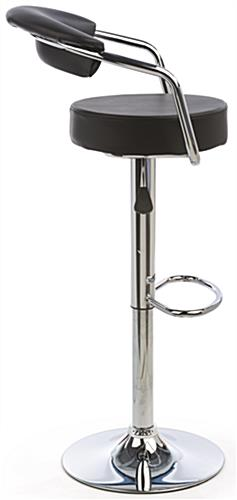 Bar Stool with Gas Lift, Chrome Arm Rests