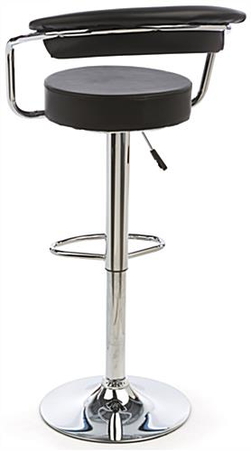 Bar Stool with Gas Lift, Made with Faux-Leather & Chromed Steel