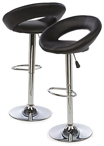 Hydraulic Bar Chair with Black Seat & Chrome Base