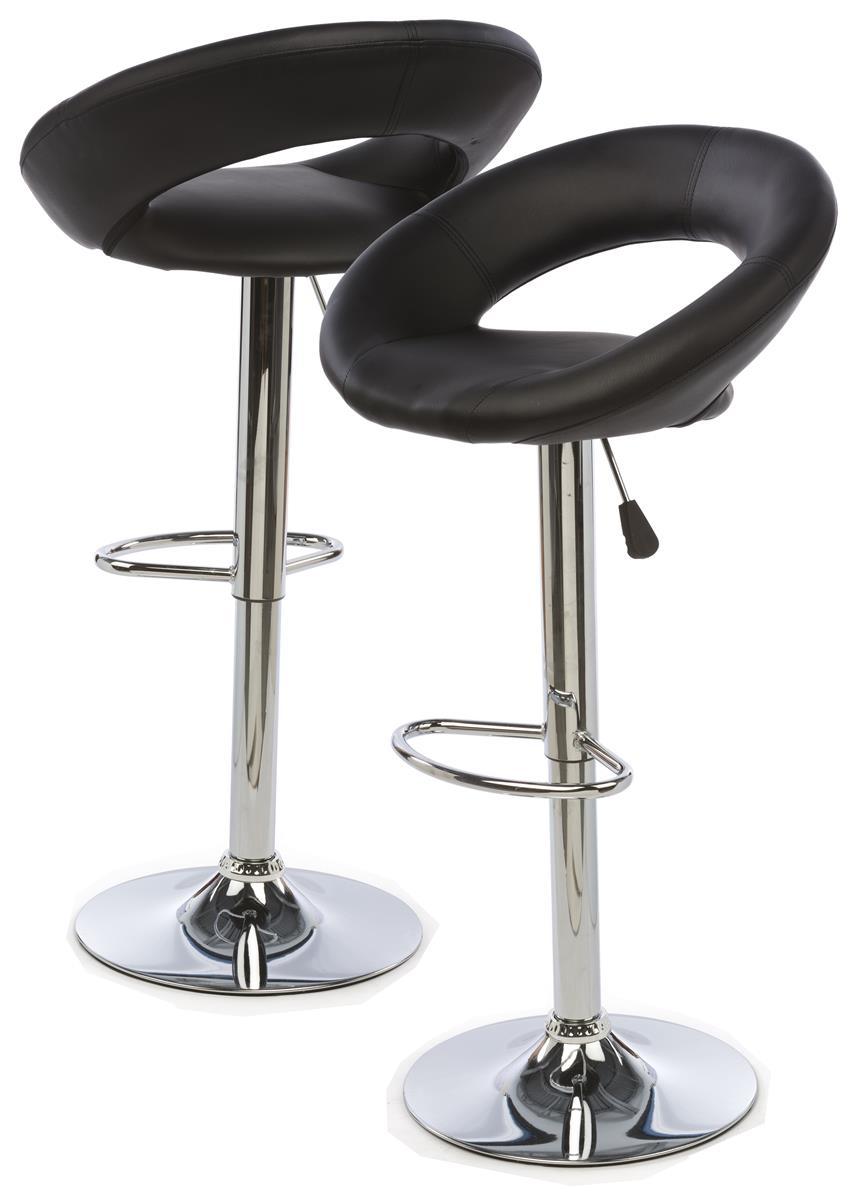 Hydraulic Bar Chair Faux Leather Cushioned Seat Back