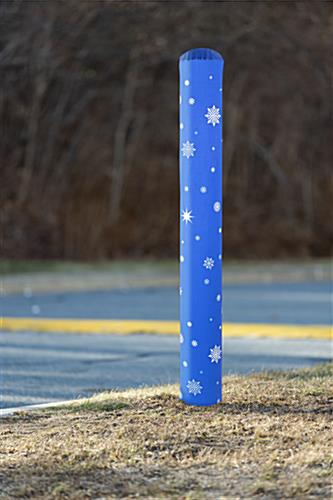 Easy to apply snowflake pattern bollard post cover
